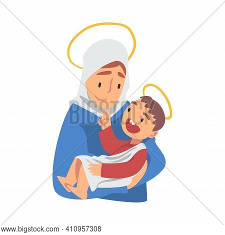 Mary Holding Baby Jesus With Her Arm As Narrative From Bible Vector Illustration