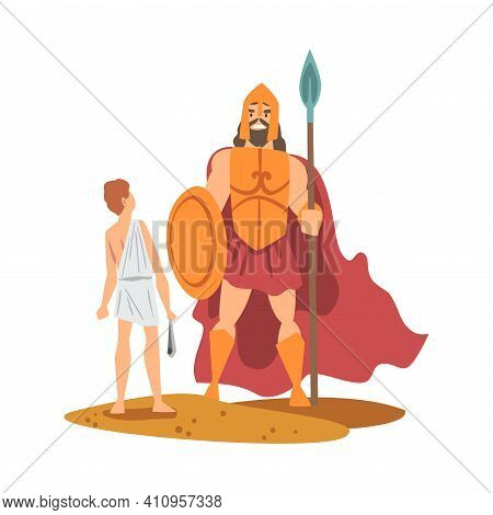 Goliath Philistine Giant And Young David As Narrative From Bible Vector Illustration