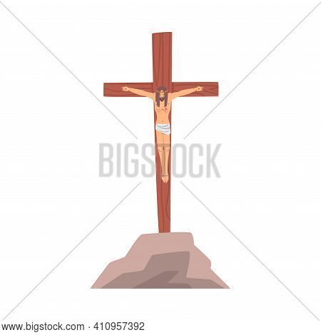 Crucifixion Of Jesus As Salvation And Atonement Symbol In Bible Narrative Vector Illustration