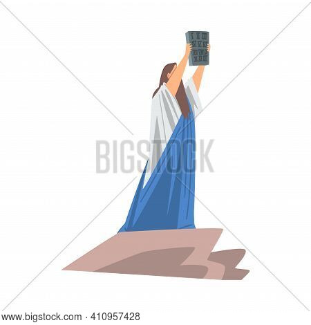 Moses Holding Table Of The Covenant As Narrative From Bible Vector Illustration