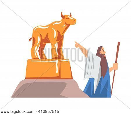 Moses Pointing At Golden Idol As Narrative From Bible Vector Illustration