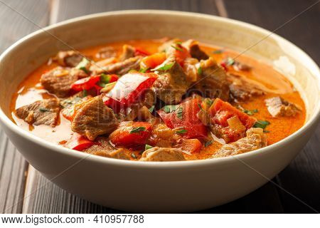 Traditional Hungarian Paprikash With Turkey, Bell Pepper, Carrot, Onion, Paprika And Sour Cream In B