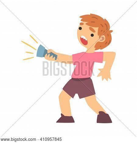 Little Fearful Boy With Flashlight Screaming Afraid Of Something Vector Illustration