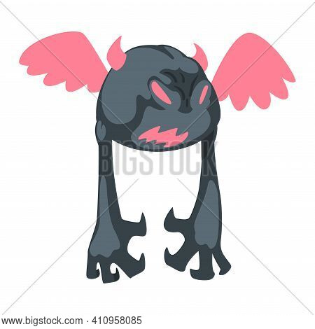 Spooky Monster As Grotesque Creature With Terrifying Appearance Vector Illustration