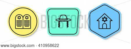 Set Line Tombstone With Star Of David, Orthodox Jewish Hat And Jewish Synagogue. Colored Shapes. Vec