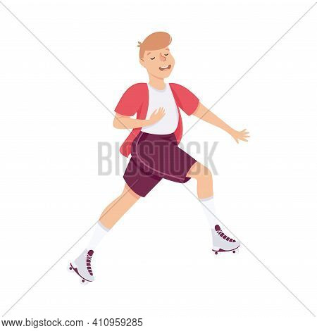 Smiling Man Character Dancing On Roller Skates Performing Tricky Movement Vector Illustration