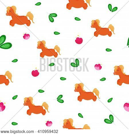 Seamless Baby Background With Fairy Brown Ponies