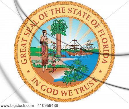 3d Seal Of Florida (1900-1985), Usa. 3d Illustration.