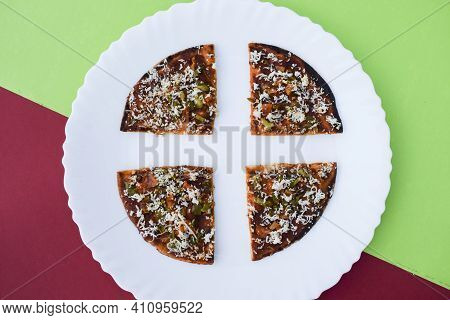Selecive Focus Of Farali Pizza, Faradi Snacks Made Out Of Fasting Flour