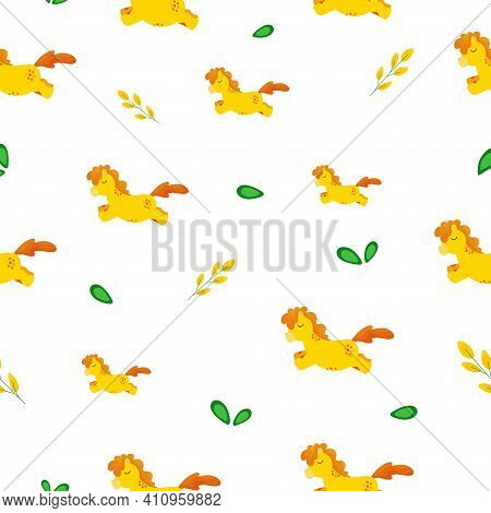 Seamless Baby Background With Fairy Yellow Ponies