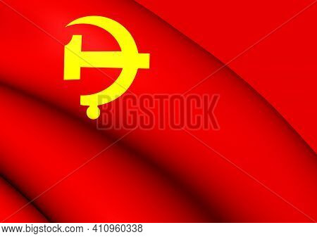 3d Flag Of Chinese Communist Party. 3d Illustration.