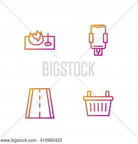 Set Line Bicycle Basket, Lane, On Street Ramp And Mobile Holder. Gradient Color Icons. Vector