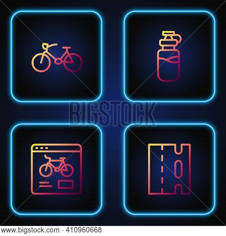 Set Line Bicycle Lane, Rental Mobile App, And Sport Bottle With Water. Gradient Color Icons. Vector