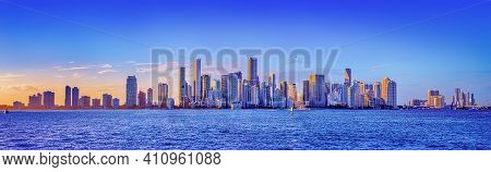 The Skyline Of Miami While Sunset, Florida