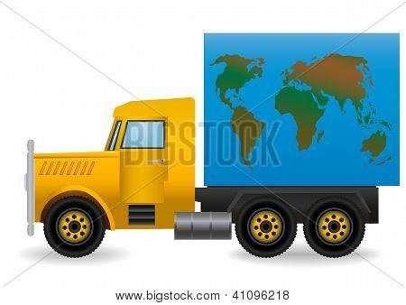 Vector Illustration The Yellow Truck.