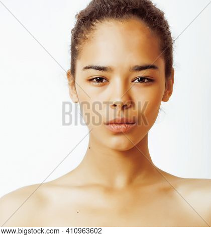 Young Pretty African American Woman Close Up Isolated On White Background, Asian Tanned Nude Makeup,