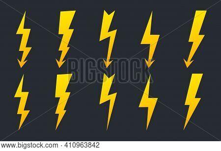 Set Of Colorful Lightning Bolts. High Voltage Icon. Thunderbolt, Lighting Strike, Flash Symbol. Batt
