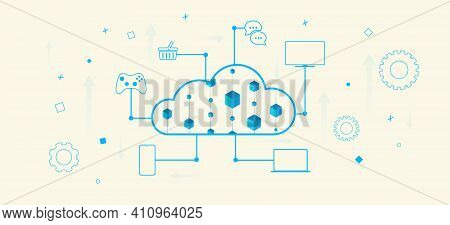 Cloud Computing Storage Technology Concept. Internet Network Of Cloud Computing. Online Access On De