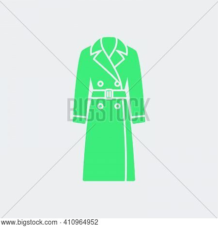 Business Woman Trench Icon. Green On Gray Background. Vector Illustration.