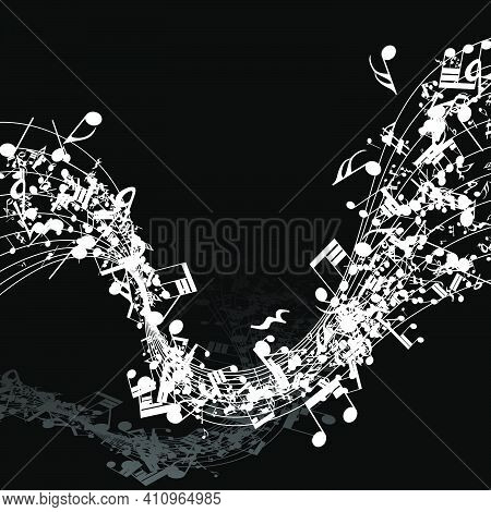 Musical Design Elements From Music Staff With Treble Clef And Notes In Black And White Colors. Vecto