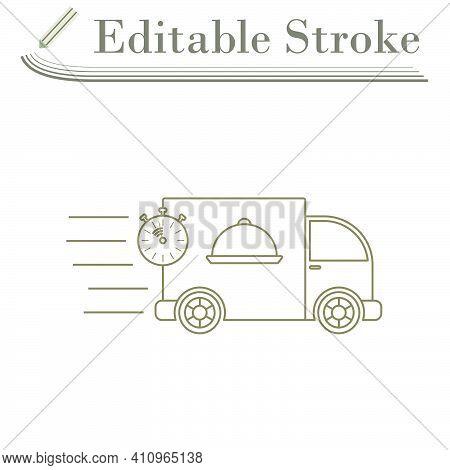 Fast Food Delivery Car Icon. Editable Stroke Simple Design. Vector Illustration.