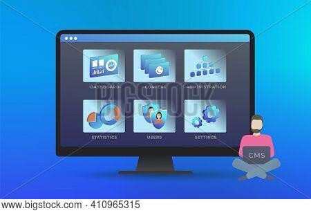 Content Management System - Web Site Management Software Cms Concept. Edit And Change Design, User A