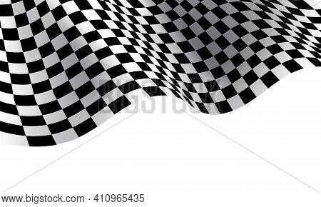 Checkered Flag Wave On White Background Design For Sport Race Championship Vector Illustration.