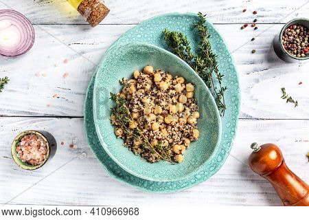 Bowl Of Quinoa Salad With Chickpeas And Thyme. Super Food, Delicious Breakfast Or Snack On A Light B
