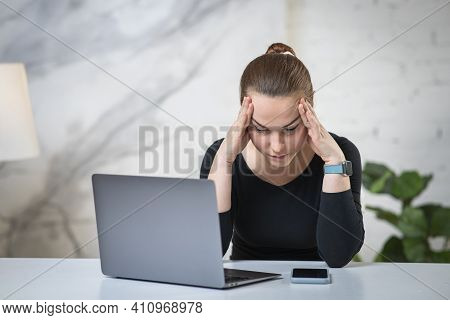 Portrait Of Tired Exhausted At Job Girl, Young Overworked Overloaded Woman Sitting By The Table, Wor
