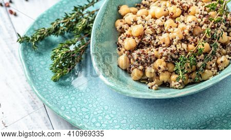 Quinoa With Chickpeas. Super Food, Food Recipe Background. Close Up. Long Banner Format, Top View.