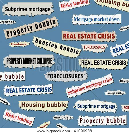Newspaper cuttings and headlines. Housing market crisis - property bubble collapse news. poster
