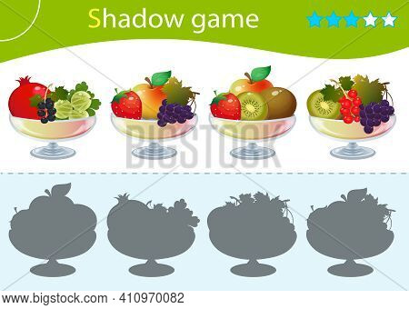 Shadow Game For Kids. Match The Right Shadow. Vases With Fruits And Berries. Currant, Strawberry, Ap