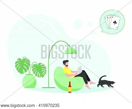 Vector Illustration Man Sits In Chair Using Tablet, Laptop For Playing Online Game Playing Cards Sol