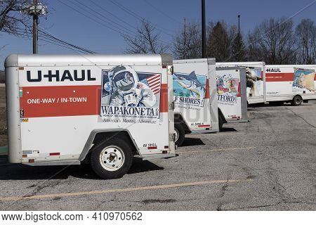Lafayette - Circa March 2021: U-haul Moving Truck Rental Location. U-haul Offers Moving And Storage