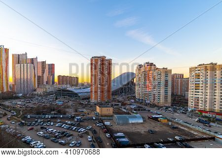 Krasnogorsk, Russia - 06 Dec 2020. General View Of Residential Buildings And Snowball