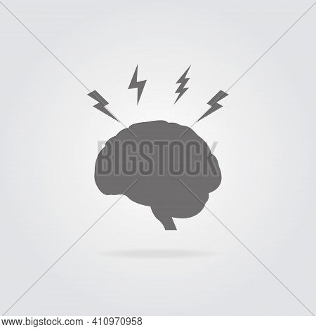 Headache And Stress Concept. Brain Icon With Lightning Symbol On Grey Background. Brainstorm Concept
