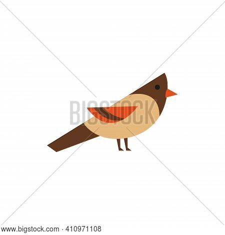 Sparrow. Icon. Simple Style. Vector Illustration Isolated On White Background