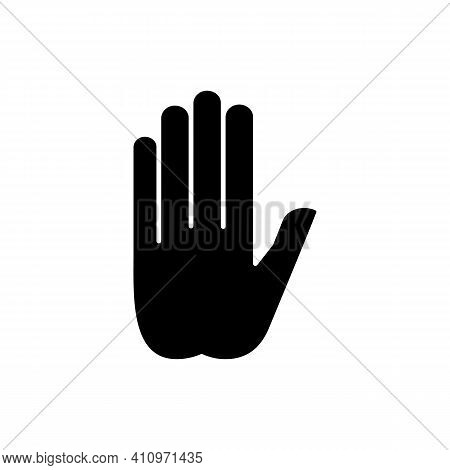 Stop Gesture Black Glyph Icon. Prohibition Of Something. Palm Of A Hand With Five Fingers. Strict Ba