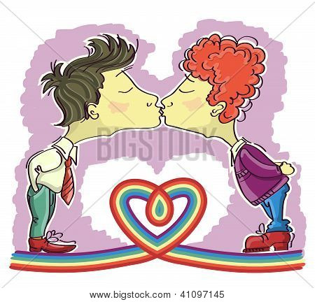 Gay Couples Kissing.vector Cartoons Image Isolated With Decor Heart