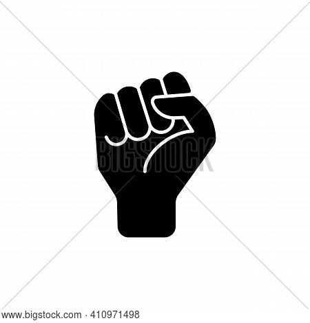 Clenched Fist Black Glyph Icon. Demonstration Of Power. Boxing Sign. Sign Of Fight For Rights. Socia