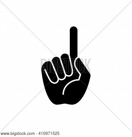 One Finger Pointing Black Glyph Icon. Pointing With Index Finger Of Hand At Something. Sign Requirin