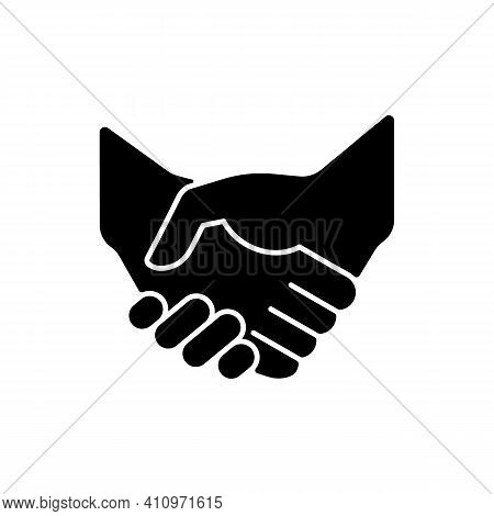 Handshake Black Glyph Icon. Successful Business Deal. Partnerships. Mutually Beneficial Deal. Reachi