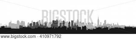 Illustration. City Landscape. Blue Silhouette Of The City. City Landscape In A Flat Style