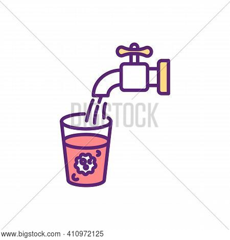 Water Contamination Rgb Color Icon. Toxic Substances. Drinking Water With Harmful Pollutants And Pat