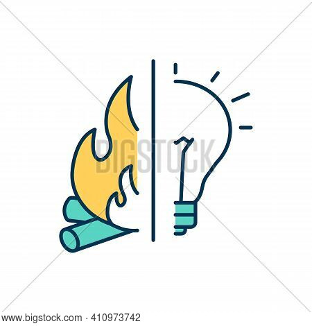 Human Evolution Rgb Color Icon. Fire Control. Modern Society. Human Beings Development. Gaining Warm