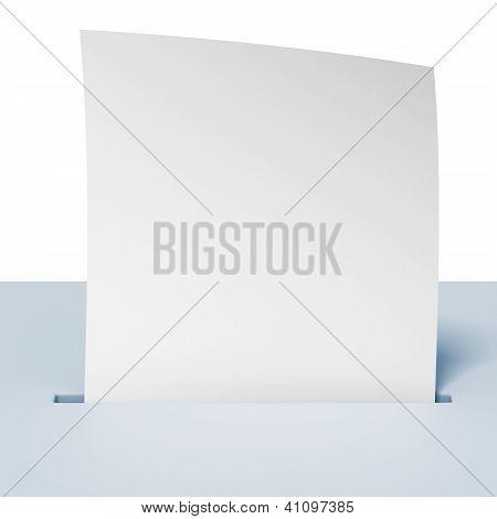 Blank paper in a blue ballot box