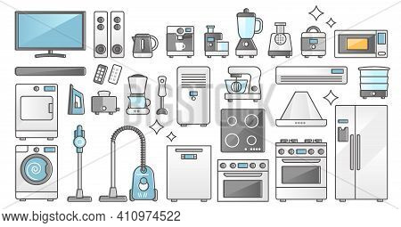 Home Appliances Set And Domestic Electronics And Machines Outline Concept