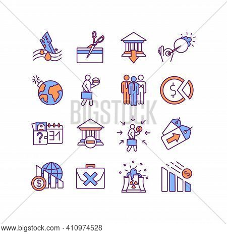 World Crisis Rgb Color Icons Set. Credit Crunch. Bank Failure. Maritime Disaster. Financial Default.