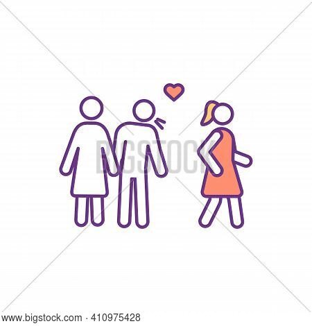 Adultery Rgb Color Icon. Cheating, Infidelity. Emotional Betrayal In Marriage. Jealousy Relationship
