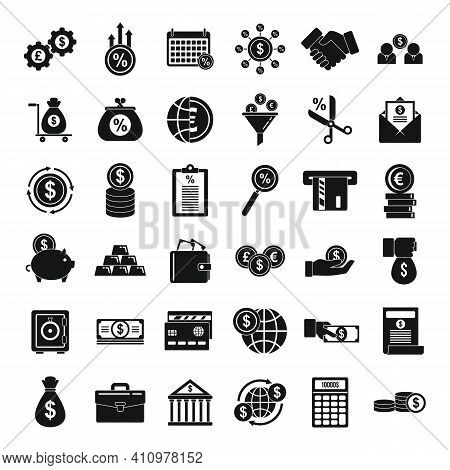 Credit Union Icons Set. Simple Set Of Credit Union Vector Icons For Web Design On White Background